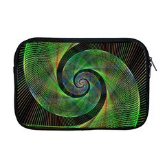Green Spiral Fractal Wired Apple Macbook Pro 17  Zipper Case by Nexatart
