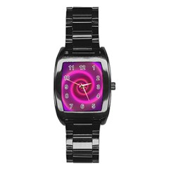 Pink Background Neon Neon Light Stainless Steel Barrel Watch