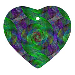Fractal Spiral Swirl Pattern Heart Ornament (two Sides) by Nexatart