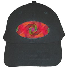 Red Spiral Swirl Pattern Seamless Black Cap