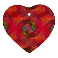 Red Spiral Swirl Pattern Seamless Heart Ornament (two Sides)