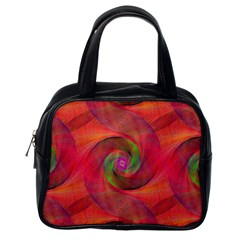 Red Spiral Swirl Pattern Seamless Classic Handbags (one Side)