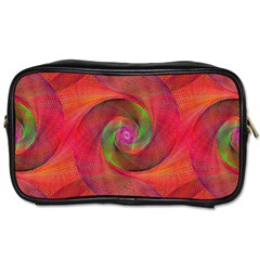 Red Spiral Swirl Pattern Seamless Toiletries Bags by Nexatart