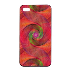 Red Spiral Swirl Pattern Seamless Apple Iphone 4/4s Seamless Case (black) by Nexatart