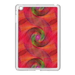 Red Spiral Swirl Pattern Seamless Apple Ipad Mini Case (white) by Nexatart