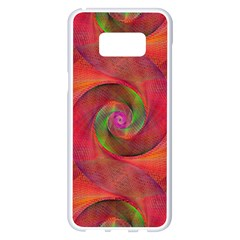 Red Spiral Swirl Pattern Seamless Samsung Galaxy S8 Plus White Seamless Case
