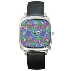 Spiral Pattern Swirl Pattern Square Metal Watch by Nexatart