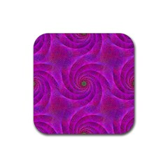 Pink Abstract Background Curl Rubber Square Coaster (4 Pack)