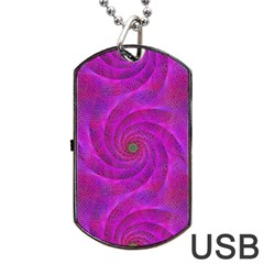 Pink Abstract Background Curl Dog Tag Usb Flash (one Side) by Nexatart