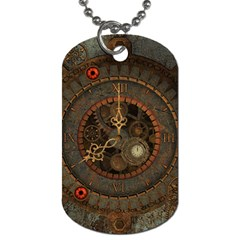 Steampunk, Awesome Clocks Dog Tag (two Sides) by FantasyWorld7
