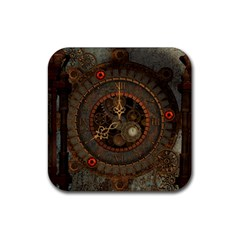 Steampunk, Awesome Clocks Rubber Square Coaster (4 Pack)  by FantasyWorld7