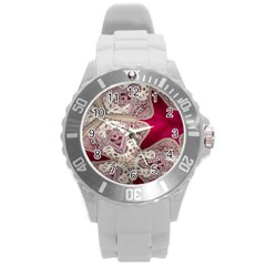 Morocco Motif Pattern Travel Round Plastic Sport Watch (l)