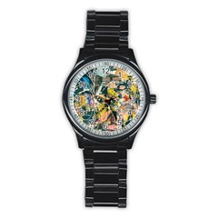 Art Graffiti Abstract Vintage Stainless Steel Round Watch