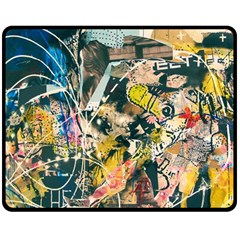 Art Graffiti Abstract Vintage Double Sided Fleece Blanket (medium)