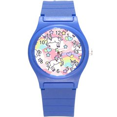 Unicorn Rainbow Round Plastic Sport Watch (s) by Nexatart