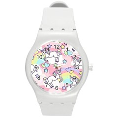 Unicorn Rainbow Round Plastic Sport Watch (m)
