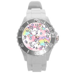 Unicorn Rainbow Round Plastic Sport Watch (l) by Nexatart