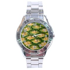 Pineapple Pattern Stainless Steel Analogue Watch by Nexatart