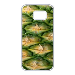 Pineapple Pattern Samsung Galaxy S7 Edge White Seamless Case by Nexatart