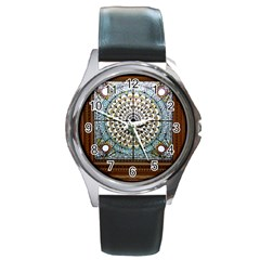 Stained Glass Window Library Of Congress Round Metal Watch