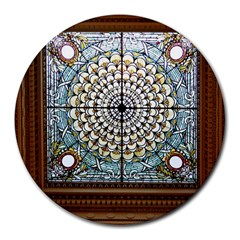 Stained Glass Window Library Of Congress Round Mousepads by Nexatart