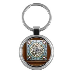 Stained Glass Window Library Of Congress Key Chains (round)  by Nexatart