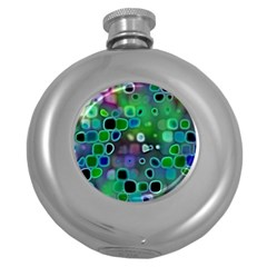 Psychedelic Lights 1 Round Hip Flask (5 Oz) by MoreColorsinLife