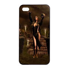 The Dark Side, Dark Fairy With Skulls In The Night Apple Iphone 4/4s Seamless Case (black) by FantasyWorld7