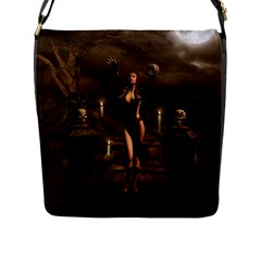 The Dark Side, Dark Fairy With Skulls In The Night Flap Messenger Bag (l)  by FantasyWorld7