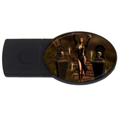The Dark Side, Dark Fairy With Skulls In The Night Usb Flash Drive Oval (2 Gb)