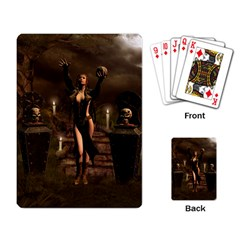 The Dark Side, Dark Fairy With Skulls In The Night Playing Card by FantasyWorld7