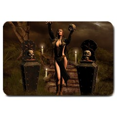 The Dark Side, Dark Fairy With Skulls In The Night Large Doormat  by FantasyWorld7