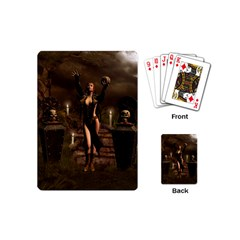 The Dark Side, Dark Fairy With Skulls In The Night Playing Cards (mini)  by FantasyWorld7