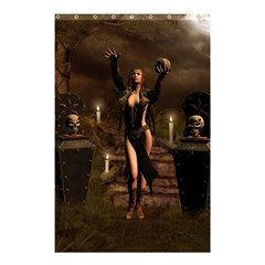 The Dark Side, Dark Fairy With Skulls In The Night Shower Curtain 48  X 72  (small)  by FantasyWorld7