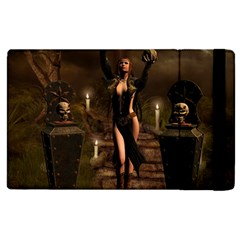 The Dark Side, Dark Fairy With Skulls In The Night Apple Ipad 3/4 Flip Case by FantasyWorld7