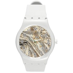 Background Structure Abstract Grain Marble Texture Round Plastic Sport Watch (m)