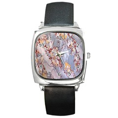 Marble Pattern Square Metal Watch