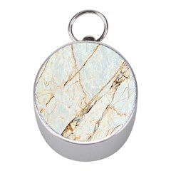 Marble Texture White Pattern Surface Effect Mini Silver Compasses