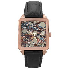 Marbling Rose Gold Leather Watch