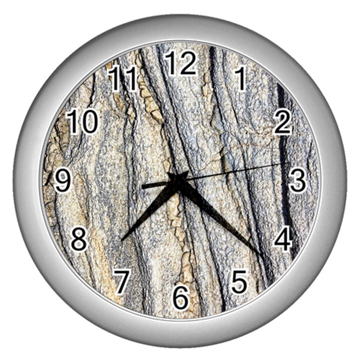 Texture Structure Marble Surface Background Wall Clocks (Silver)