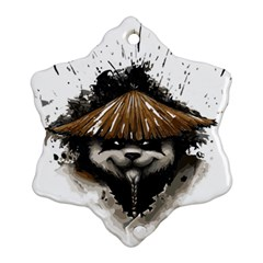 Warrior Panda T Shirt Snowflake Ornament (two Sides) by AmeeaDesign