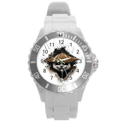 Warrior Panda T Shirt Round Plastic Sport Watch (l) by AmeeaDesign