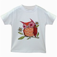 Summer Colourful Owl T Shirt Kids White T Shirts by AmeeaDesign