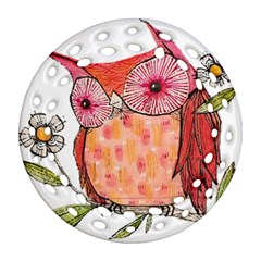 Summer Colourful Owl T Shirt Ornament (round Filigree) by AmeeaDesign