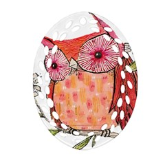 Summer Colourful Owl T Shirt Oval Filigree Ornament (two Sides) by AmeeaDesign
