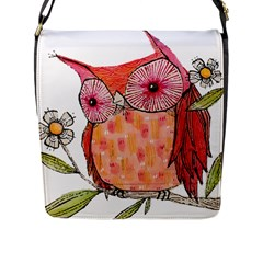 Summer Colourful Owl T Shirt Flap Messenger Bag (l)  by AmeeaDesign