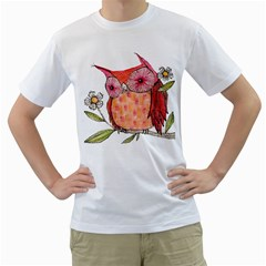 Summer Colourful Owl T Shirt Men s T Shirt (white)  by AmeeaDesign