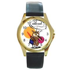 Owl That Hates Summer T Shirt Round Gold Metal Watch by AmeeaDesign