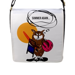 Owl That Hates Summer T Shirt Flap Messenger Bag (l)  by AmeeaDesign