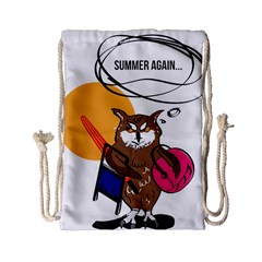 Owl That Hates Summer T Shirt Drawstring Bag (small) by AmeeaDesign